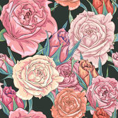 Vector seamless background with beautiful roses