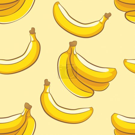 Illustration for Seamless food pattern with sweet bananas - Royalty Free Image