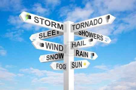 Foto de Poste indicador del tiempo sobre fondo azul cielo nublado - Imagen libre de derechos