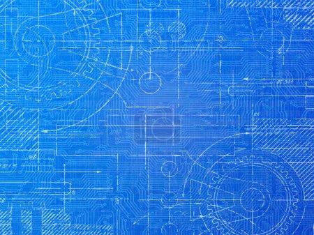 Photo pour Schéma technique électronique et illustration de fond mécanique - image libre de droit