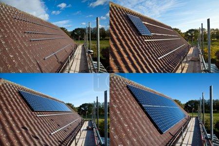 Foto de Serie de fotos mostrando los paneles solares están equipados. - Imagen libre de derechos