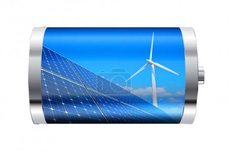 Foto de Batería con paneles solares y turbina eólica - Imagen libre de derechos
