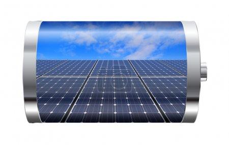 Foto de Baterías que contienen paneles solares contra sk azul - Imagen libre de derechos