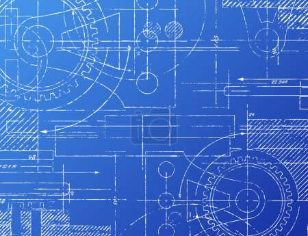 Illustration for Grungy technical blueprint illustration on blue background - Royalty Free Image