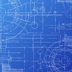 Grungy technical blueprint illustration on blue ba...