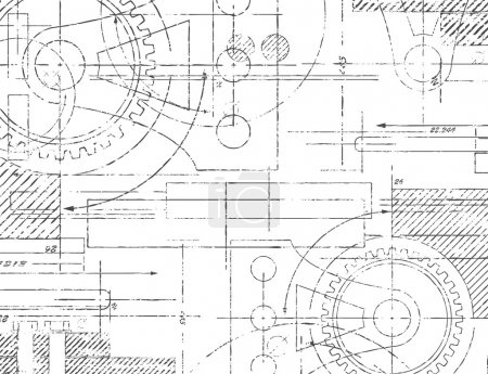 Illustration for Grungy technical drawing illustration of gears and engineering parts - Royalty Free Image