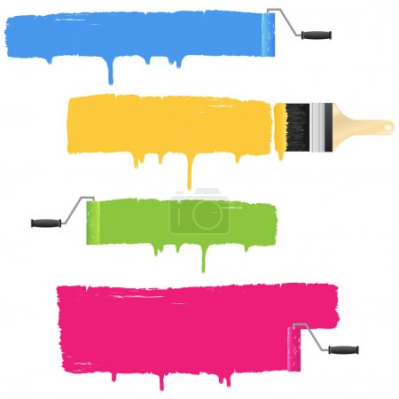 Illustration for Colorful paint roller and brush smear banners. - Royalty Free Image