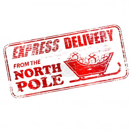 Illustration for Express delivery from the North Pole rubber stamp vector illustration - Royalty Free Image