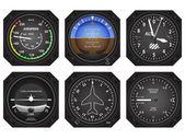 Set of six aircraft avionics instruments Eps 10 vector illustratio