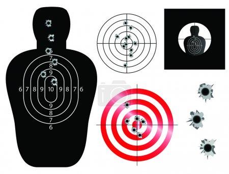 Illustration pour Illustrations de cible et de vue avec trous de balle - image libre de droit