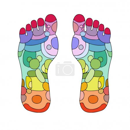 Illustration for Reflexology zones, massage signs and colored points - Royalty Free Image