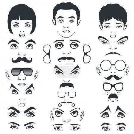 Illustration pour Moustache des yeux lèvres et cheveux, parties du visage, caractère de la tête - image libre de droit