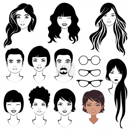 Illustration for Eye mustache lips and hair, face parts, head character - Royalty Free Image