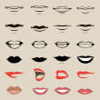 Vector lips and mouth, silhouette and glossy, open...