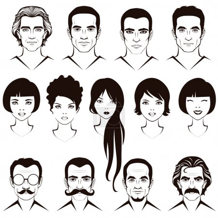 Illustration for Eye mustache lips and hair, face parts, head character of man and woman - Royalty Free Image