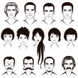 Eye mustache lips and hair, face parts, head chara...