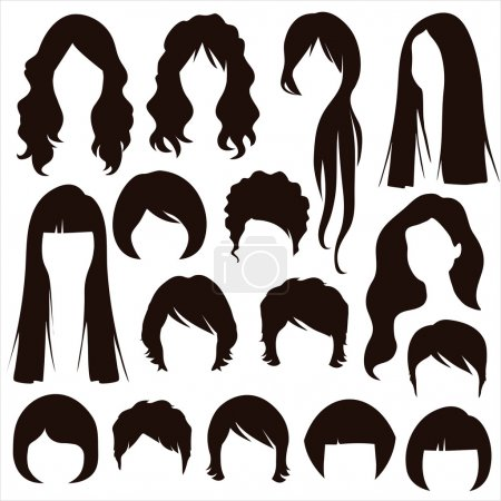 Illustration for Hair silhouettes, woman hairstyle - Royalty Free Image