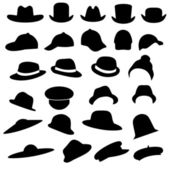 Isolated hats silhouette