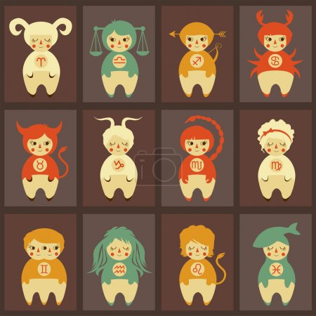Illustration for Zodiac vector illustration, cute horoscope signs - Royalty Free Image