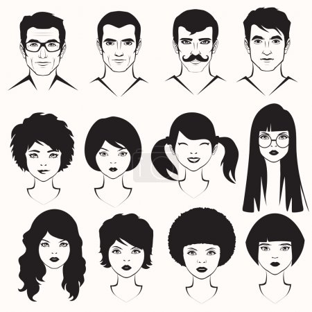 Illustration for Eye lips and hair, men and woman face parts, head character - Royalty Free Image