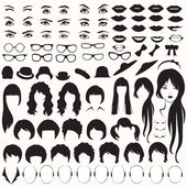 Eye glasses hat lips and hair woman face parts head character