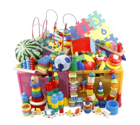 Foto de Caja con muchos juguetes - Imagen libre de derechos