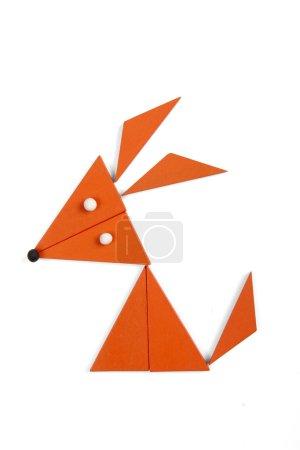 Photo pour Renard de figures géométriques sur fond blanc - image libre de droit