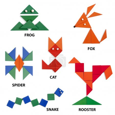 Photo for The animals set of geometric figures on white background - Royalty Free Image