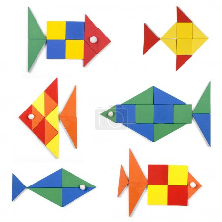 Photo for The fishes set of geometric figures on white background - Royalty Free Image