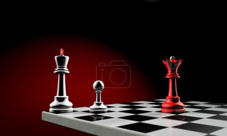 Photo for Three chess pieces (the white king, white pawn and red queen). Temy artistic background. - Royalty Free Image