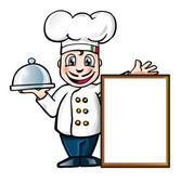 Italian chef with sign