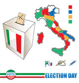 Italian election day with icons background and banners