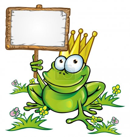 frog with wood signboard with a blank customizable