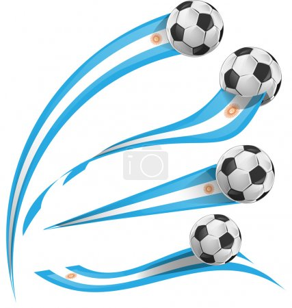 Argentina flag set with soccer ball