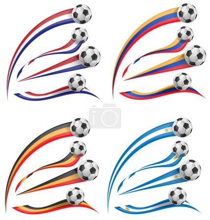 flag set whit soccer ball