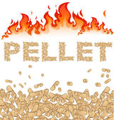 pellet background with fire on white