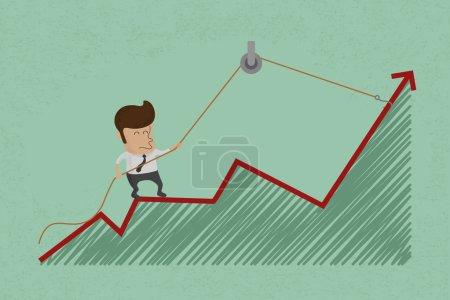 Business man make a economic rebound growth
