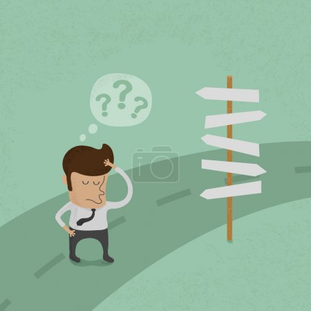 Illustration for Businessman do not know where to go - Royalty Free Image
