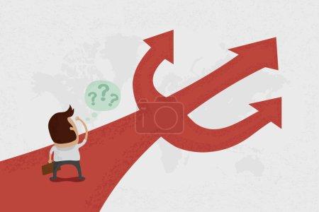 Illustration pour L'homme d'affaires ne sait pas où aller - image libre de droit
