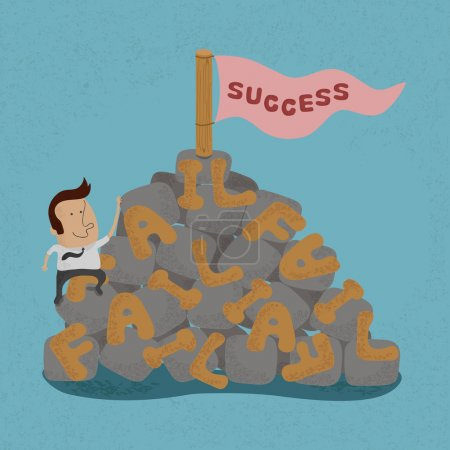 Illustration for Businessman moving over the Failure go to success , symbolizing the overcoming of an obstacle and achieving your goals , eps10 vector format - Royalty Free Image