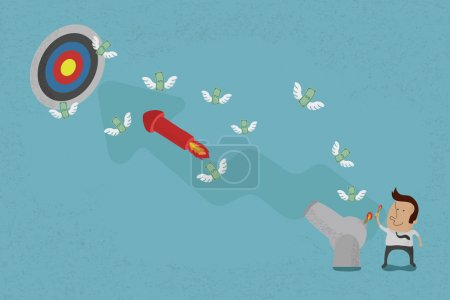 Illustration for Business people aiming for a high target - Royalty Free Image