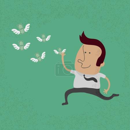 Illustration for Happy man hunting flying money - Royalty Free Image