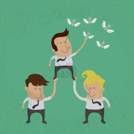 Business people working as a team to grab the money