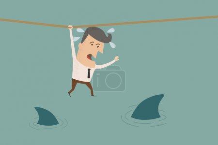 Illustration pour Homme d'affaires dans une situation risquée, format vectoriel eps10 - image libre de droit