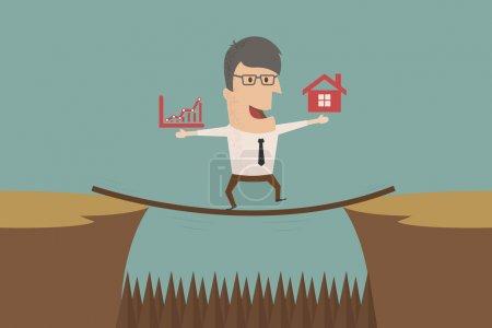 Illustration pour Homme d'affaires aller à risque, format vectoriel eps10 - image libre de droit