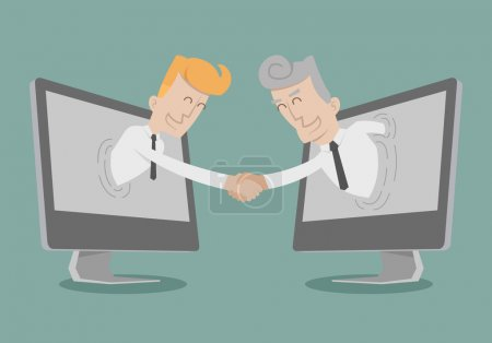 Businessman shake hand , Online Business , Online Marketing