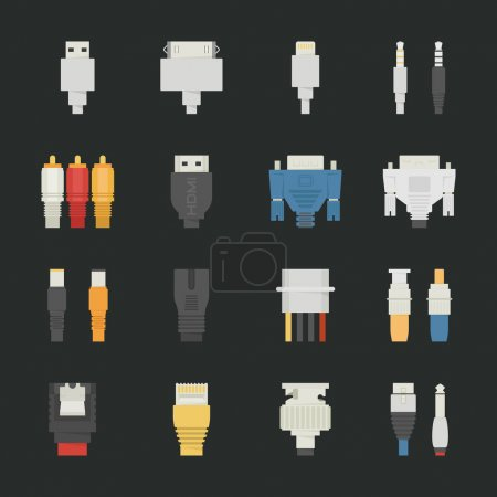 Cable wire computer icons with black background
