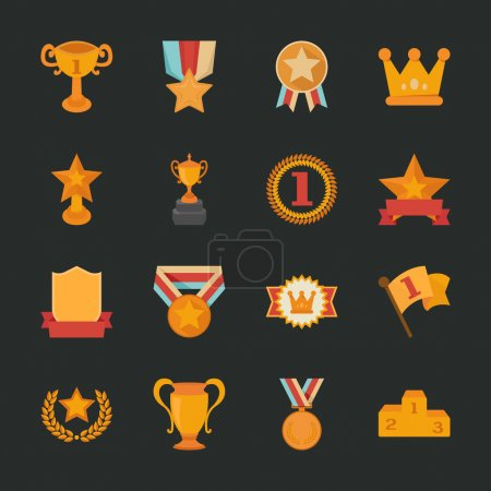 Prizes & Awards icons , flat design