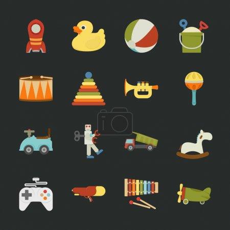 Illustration pour Icônes de jouets, design plat, format vectoriel eps10 - image libre de droit