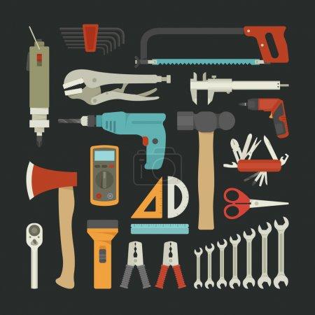 Illustration pour Ensemble d'icônes d'outils à main, design plat, format vectoriel eps10 - image libre de droit